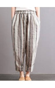 KPT11080918Y Plus size stripes linen pants REAL PHOTO