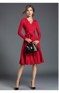 BDS11146225X Knit pleated dress REAL PHOTO