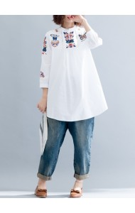 KTP11157411Y Plus size embroidery shirt PHOTO