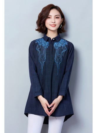 KTP11159411Y Plus size embroidery linen shirt PHOTO