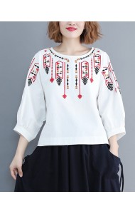 KTP11285188Z Embroidery puff sleeves linen blouse PHOTO