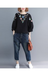 KTP11284188Z Embroidery puff sleeves linen blouse PHOTO