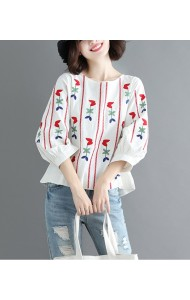 KTP11281188Z Embroidery puff sleeves linen blouse PHOTO