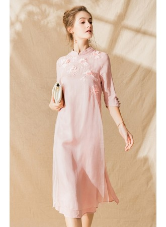 KDS11290076Y Embroidery silk cheongsum dress PHOTO