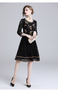 BDS11296735X Embroidery black lace dress PHOTO