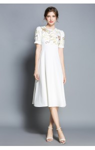 BDS11296736D Embroidery skater white dress PHOTO