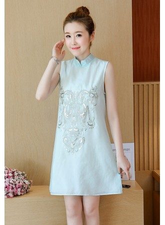 KDS12018653Y Embroidery sequin cheongsum dress PHOTO