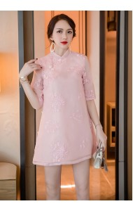 KDS12025099B Embroidery floral organza cheongsum dress PHOTO