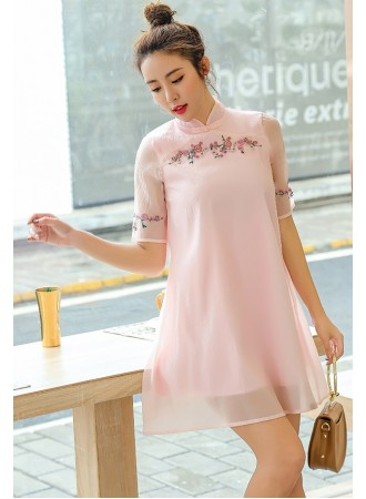 KDS12023139B Embroidery pink organza cheongsum dress PHOTO