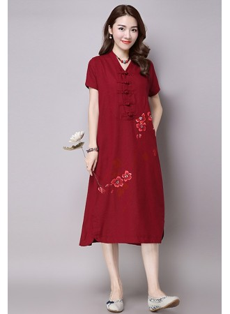 KDS120411655S Linen printed cheongsum dress PHOTO