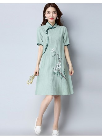 KDS12041565S Linen printed cheongsum dress PHOTO
