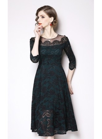 BDS12056266X Mesh shoulder full lace dress PHOTO