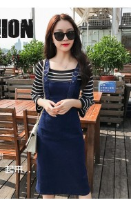 KDS05126028K Knit and jeans fake 2 piece jumpsuit dress PHOTO