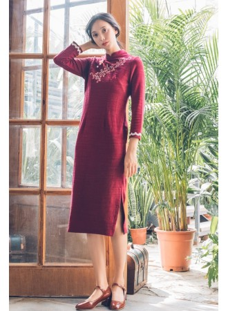 KDS06121581A Embroidery knit cheongsum dress PHOTO