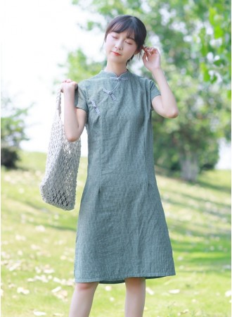 KDS06123081A Stripes linen cheongsum dress PHOTO