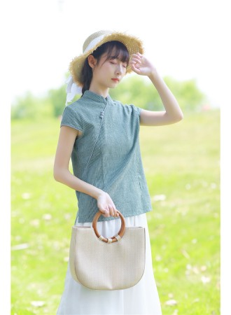 KDS06122081A Stripes linen cheongsum blouse PHOTO