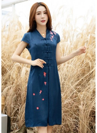KDS06127188J V neck printed linen cheongsum dress PHOTO