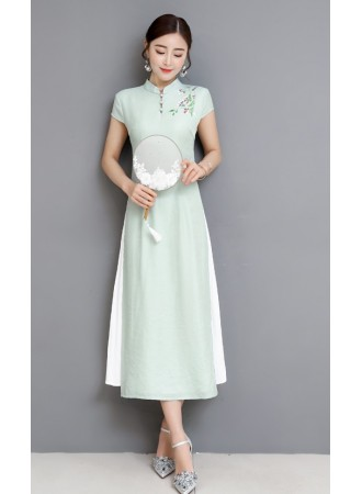 KDS06120607T Organza embroidery cheongsum dress PHOTO