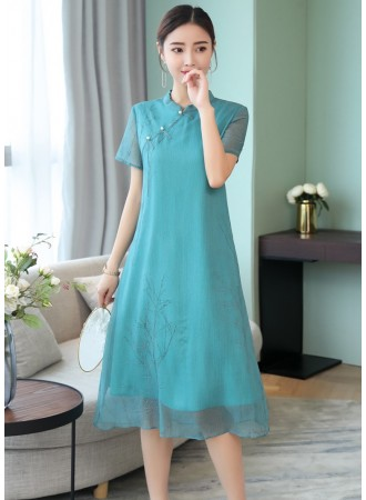 KDS06122988M Primted chiffon cheongsum dress PHOTO