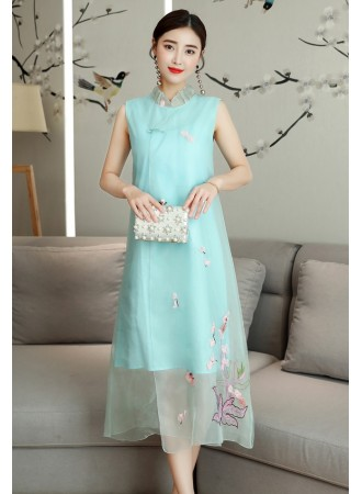 KDS06129688M Scallop organza Embroidery cheongsum dress PHOTO