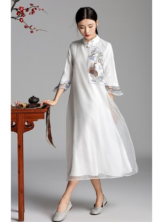 KDS06122806Y Trumpet sleeves embroidery cheongsum dress REAL PHOTO
