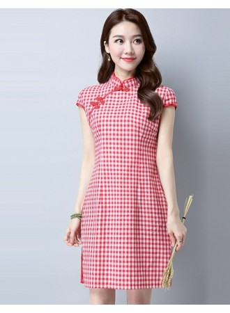 KDS07123208J Simple plaid cheongsum dress PHOTO