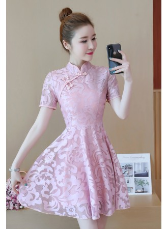 KDS09123108C Cheongsum lace skater dress PHOTO