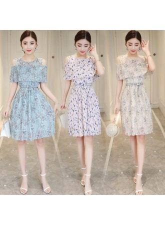 KDS12125881Q Off shoulder pleated floral dress REAL PHOTO