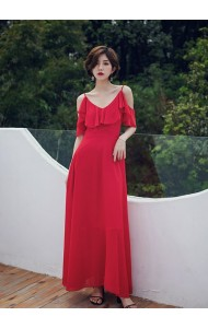 KDS12128058S Off shoulder ruffle maxi dress REAL PHOTO