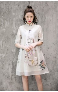 KDS12138168Y Organza 2 layer floral cheongsum dress PHOTO