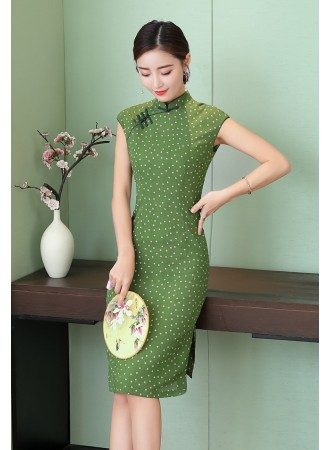 KDS12139381T Polka slim cheongsum dress REAL PHOTO