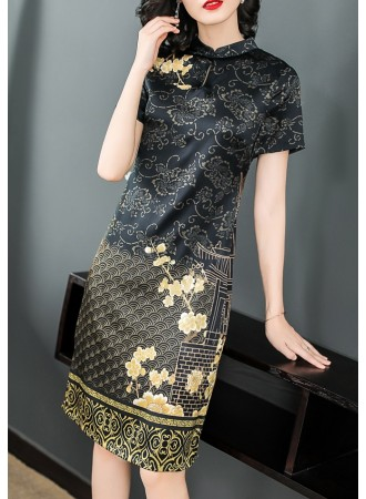 KDS12136361Y Silk printed cheongsum dress REAL PHOTO