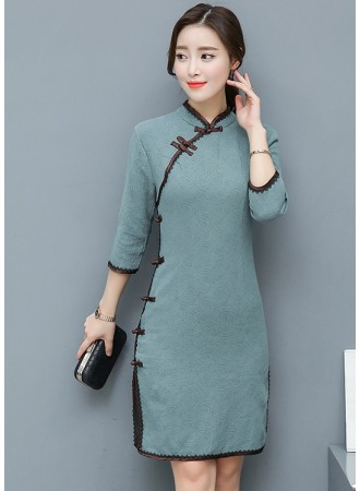 KDS12131861L Jacquard cheongsum dress REAL PHOTO