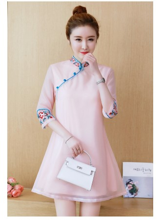 KDS12140439Y Embroidery organza cheongsum dress REAL PHOTO