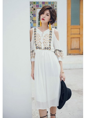 KDS12142258Y Ethnic embroidery sequin dress REAL PHOTO
