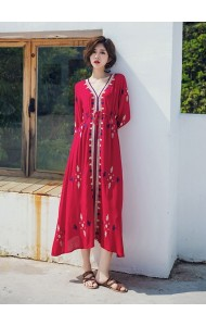 KDS12141058Y Ethnic V neck embroidery drawstring dress REAL PHOTO