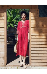KDS12145258Y Ethnic embroidery loose dress REAL PHOTO