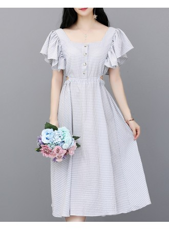 KDS12141966A Ruffle sleeves plaid dress REAL PHOTO