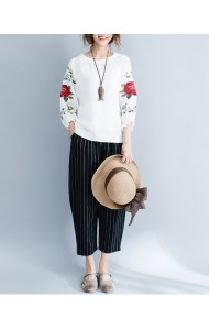 KTP12143639Z Embroidery puff sleeves linen shirt REAL PHOTO