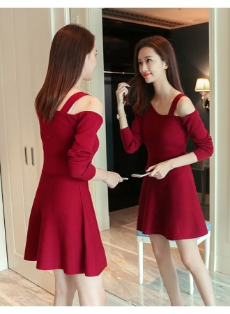 KDS12148051X Off shoulder knit dress REAL PHOTO