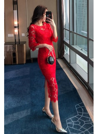 KDS12143588X Trumpet sleeves crochet lace dress REAL PHOTO