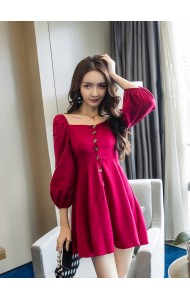KDS12145788X Puff sleeves skater mini dress REAL PHOTO