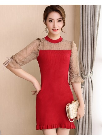 KDS12146266J Puff sleeves knit dress with lace sleeves REAL PHOTO