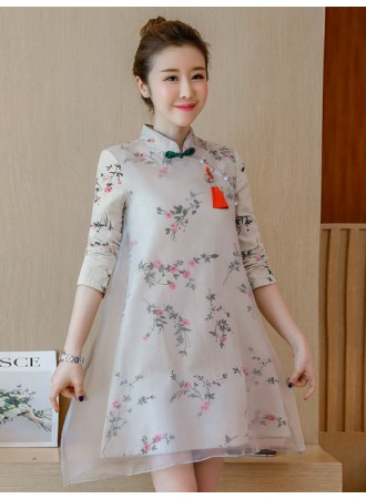 KDS12162953Y Double layer linen cheongsum dress REAL PHOTO