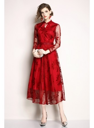 BDS12162169H Embroidery mesh sleeves dress REAL PHOTO
