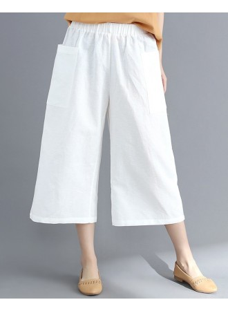 KPT12186808X Linen midi pants REAL PHOTO
