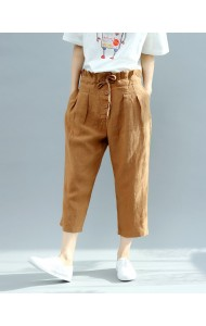 KPT12180827H Linen drawstring high waist pants REAL PHOTO