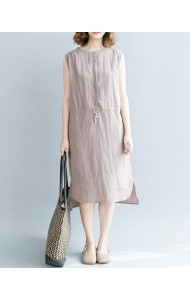 KDS12184827H Linen drawstring midi dress REAL PHOTO
