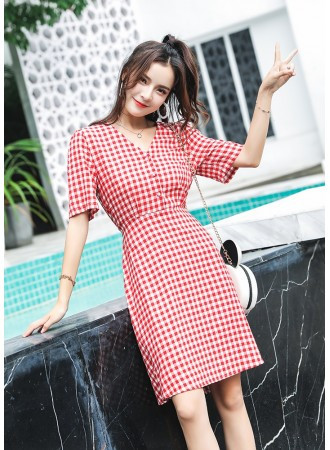 KDS12190909C V neck plaid dress with bow REAL PHOTO