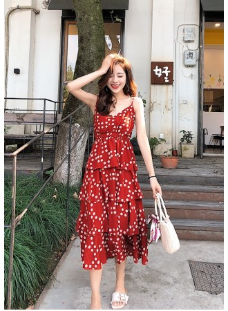 KDS12197158H Polka tiered dress REAL PHOTO
